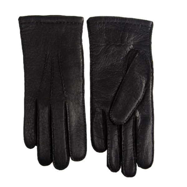 womens peccary leather gloves with cashmere lining black
